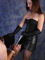 Preview Ladies in leather gloves - Honey will always be a dominant mistress when she has her sexy leather gloves on