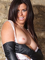 Preview Ladies in leather gloves - Sexy brunette Leanne knows how to put on a pair of leather gloves slowly for you
