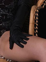Preview Ladies in leather gloves - Gorgeous Candi likes to slip into a pair of leather gloves and rub her hot wet pussy